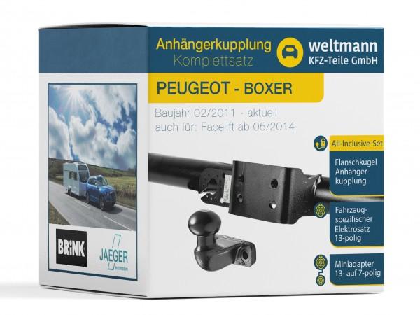 PEUGEOT BOXER Flanschkugel Anhängerkupplung starr inkl. fahrzeugspezifischer 13-poliger Elektrosatz
