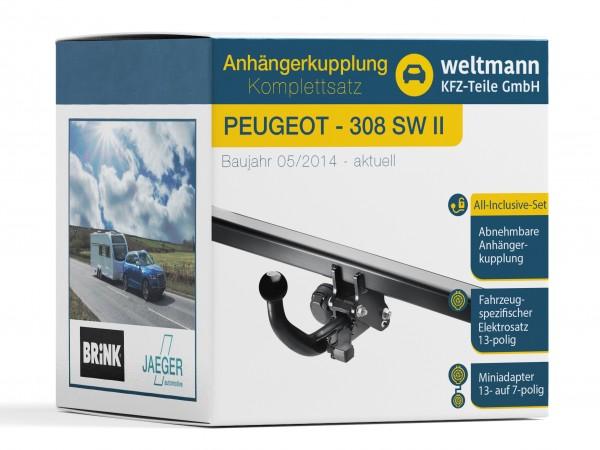 PEUGEOT 308 SW II Abnehmbare Anhängerkupplung inkl. fahrzeugspezifischer 13-poliger Elektrosatz
