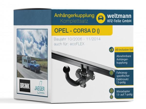 OPEL CORSA D Abnehmbare Anhängerkupplung inkl. fahrzeugspezifischer 13-poliger Elektrosatz