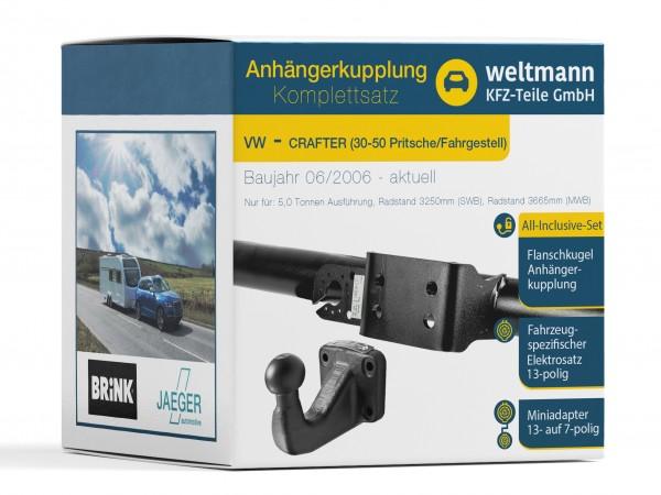 VW CRAFTER 30-50 Pritsche/Fahrgestell Flanschkugel Anhängerkupplung + 13-poliger Elektrosatz