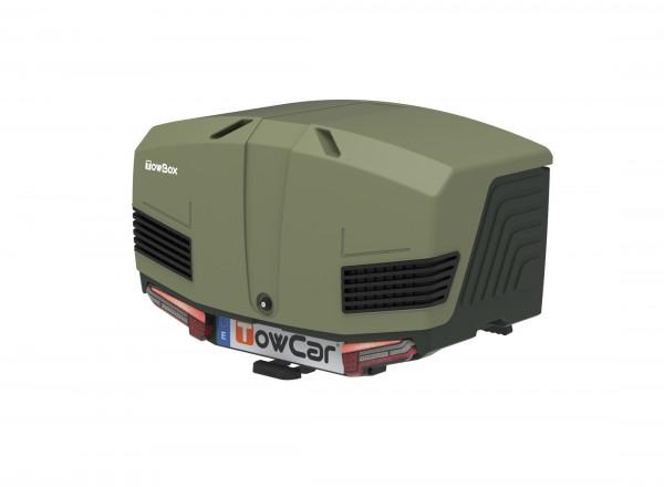 Towbox V3 Gepäckbox für Anhängerkupplung | Camper Green | Transportbox | Gepäckträger