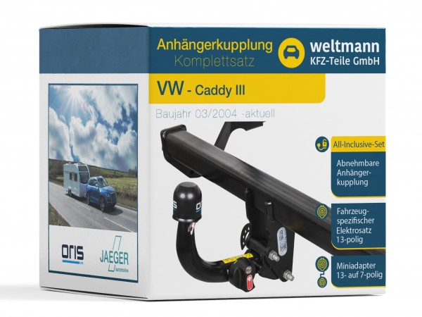 VW Caddy - Abnehmbare Anhängerkupplung inkl. fahrzeugspezifischer 13-poliger Elektrosatz