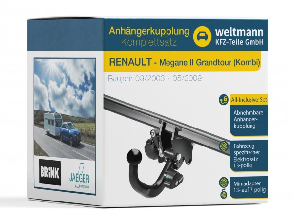 RENAULT MEGANE II Grandtour Kombi Abnehmbare Anhängerkupplung + 13-poliger Elektrosatz