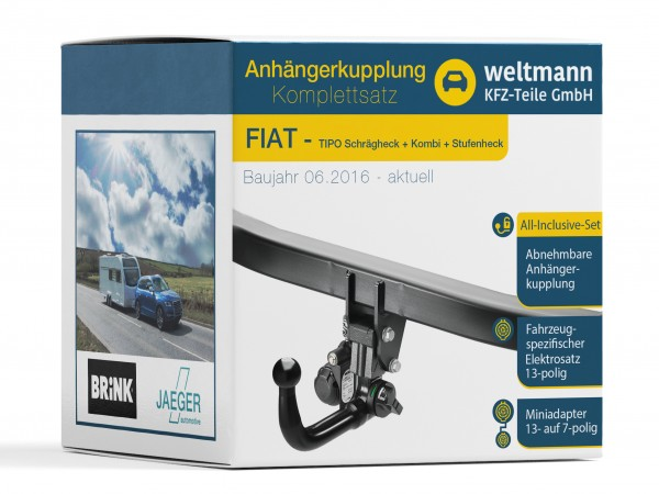FIAT TIPO Schrägheck - Abnehmbare Anhängerkupplung inkl. spezifischer 13-poliger Elektrosatz