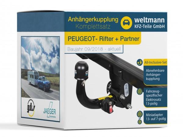 PEUGEOT RIFTER & PARTNER Abnehmbare Anhängerkupplung + 13-poliger Elektrosatz