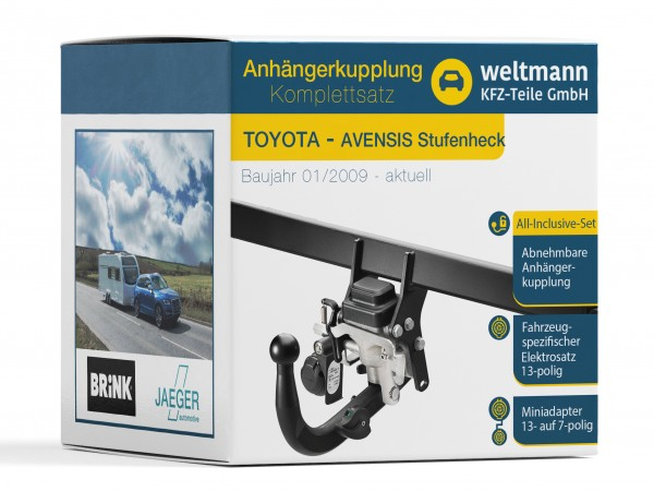 TOYOTA AVENSIS Stufenheck Schwenkbare Anhängerkupplung + spezifischer 13-poliger Elektrosatz