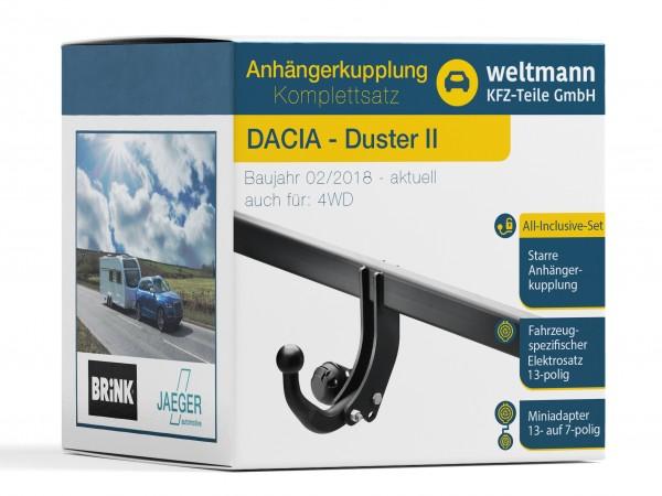 DACIA DUSTER II Starre Anhängerkupplung + 13-poliger Elektrosatz