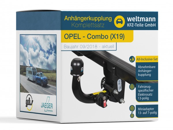 OPEL COMBO X19 Abnehmbare Anhängerkupplung + 13-poliger Elektrosatz