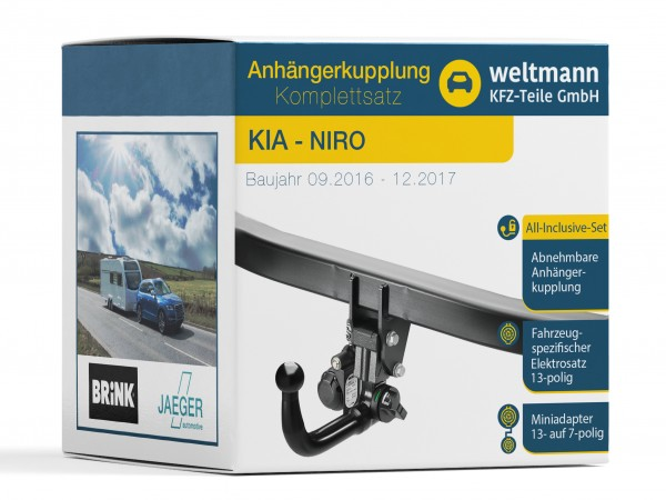 KIA NIRO - Abnehmbare Anhängerkupplung inkl. fahrzeugspezifischer 13-poliger Elektrosatz