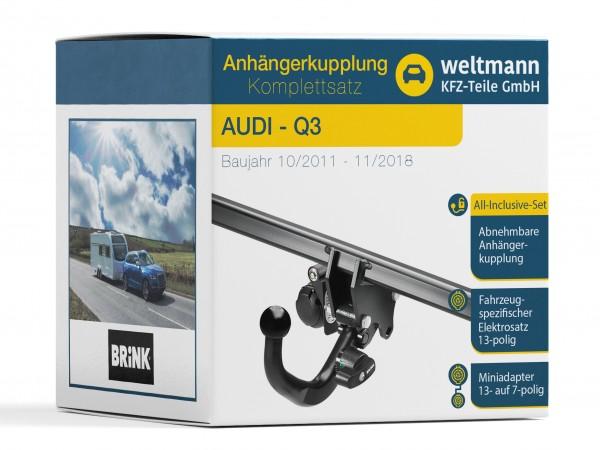 AUDI Q3 Typ 8U Abnehmbare Anhängerkupplung inkl. fahrzeugspezifischer 13-poliger Elektrosatz