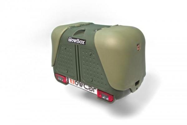 Towbox V2 Gepäckbox für Anhängerkupplung | Grün | Transportbox | Gepäckträger