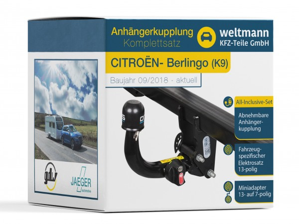 CITROËN BERLINGO Typ K9 Abnehmbare Anhängerkupplung + 13-poliger Elektrosatz