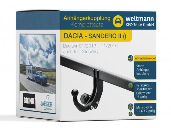 DACIA SANDERO II Starre Anhängerkupplung inkl. fahrzeugspezifischer 13-poliger Elektrosatz