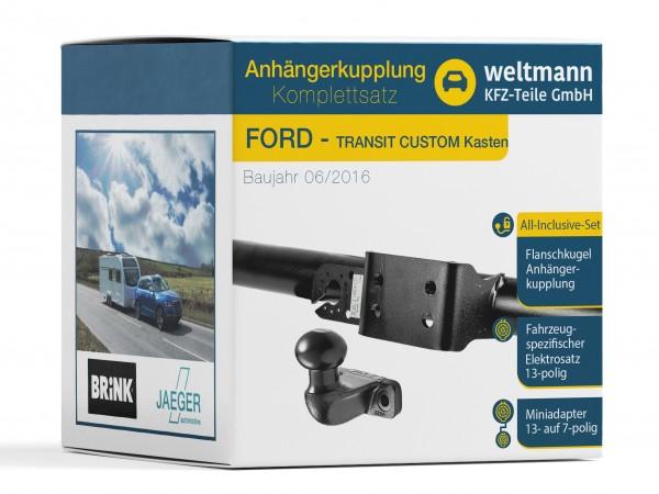 FORD Transit Custom - Flanschkugel Anhängerkupplung inkl. fahrzeugspezifischer 13 Pol E-Satz
