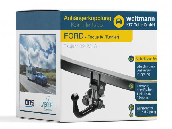 FORD Focus Turnier- abnehmbare Anhängerkupplung inkl. fahrzeugspezifischer 13-poliger Elektrosatz