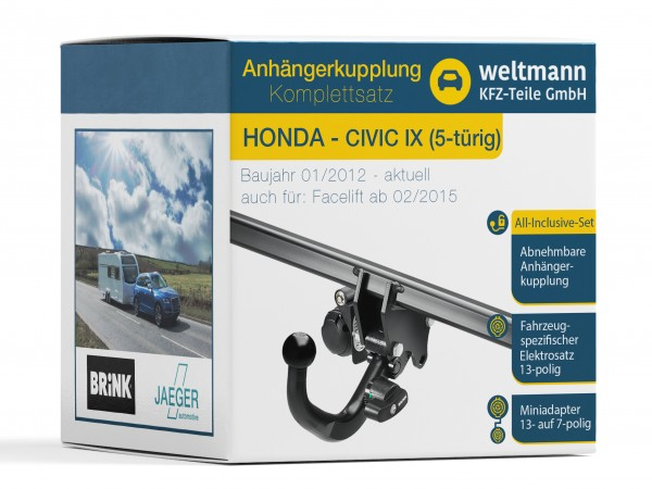 HONDA CIVIC IX Abnehmbare Anhängerkupplung inkl. fahrzeugspezifischer 13-poliger Elektrosatz