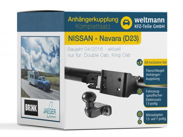 NISSAN NAVARA D23 Starre Flanschkugel Anhängerkupplung + 13-poliger Elektrosatz