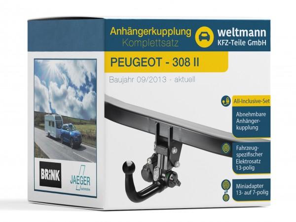 PEUGEOT 308 II Abnehmbare Anhängerkupplung inkl. fahrzeugspezifischer 13-poliger Elektrosatz