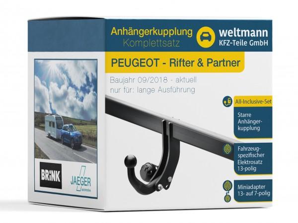 PEUGEOT RIFTER & PARTNER Starre Anhängerkupplung + 13-poliger Elektrosatz