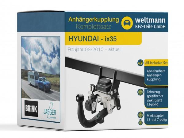 HYUNDAI ix35 Schwenkbare Anhängerkupplung inkl. fahrzeugspezifischer 13-poliger Elektrosatz