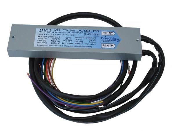 Anhänger-Spannungs-Verdoppler mit Rückfahrleuchte Hochleistung 12V auf 24V (500W Total)