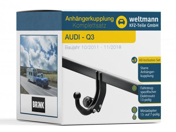 AUDI Q3 Typ 8U Starre Anhängerkupplung inkl. fahrzeugspezifischer 13-poliger Elektrosatz
