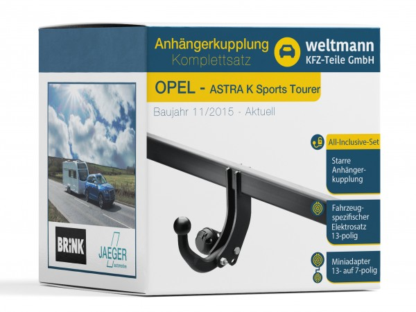 OPEL Astra K Sports Tourer - Starre Anhängerkupplung + fahrzeugspezifischer 13-poliger Elektrosatz
