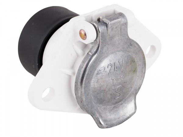 Steckdose 7-polig 24 Volt, ISO 3731, Flachsteckanschluss, rückwärtiger Gehäuseaufsatz