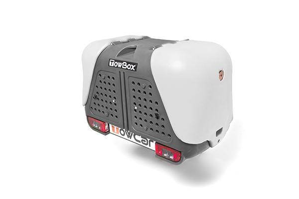 Towbox V2 Gepäckbox für Anhängerkupplung | Grau | Hunde Transportbox | Gepäckträger
