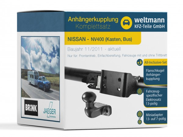 7D500433 NISSAN NV400 Kasten Bus Brink Flanschkugel Anhängerkupplung + JAEGER automotive Elektrosatz Komplettset