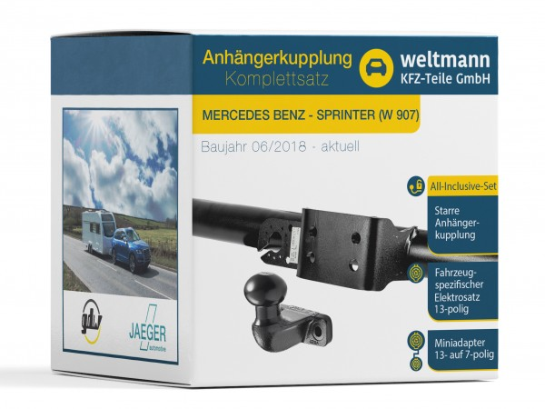 MERCEDES-BENZ Sprinter W 907 Flanschkugel Anhängerkupplung + 13-poliger Elektrosatz